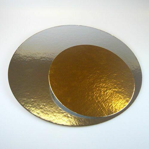 FunCakes Cake Cards silver/gold ROUND 30cm, pk/3