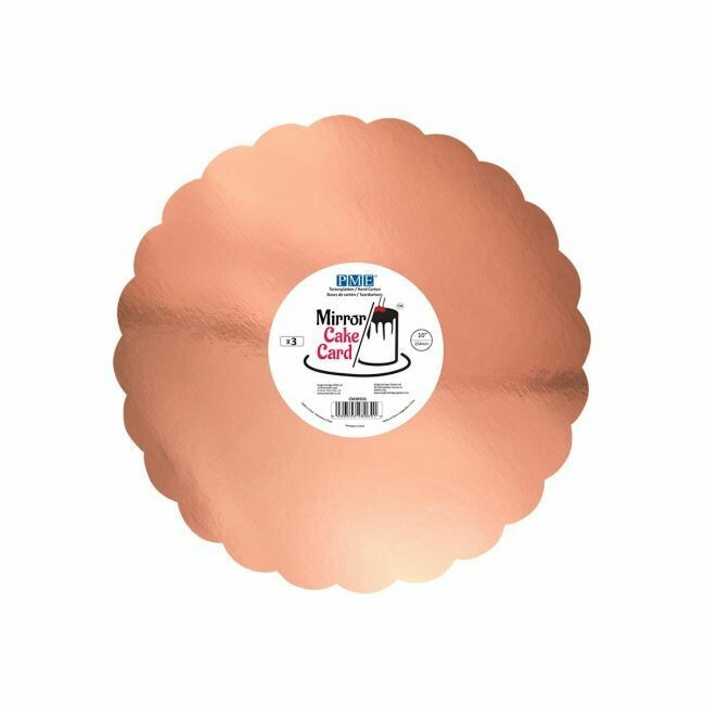 PME Mirror Cake Card Scallop Rose Gold -25cm- pk/3
