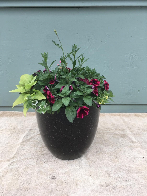"15"" Tall Black & Gold Planter Pot"