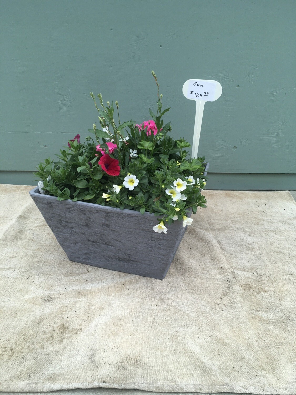 "18"" Square Grey Planter Pot"