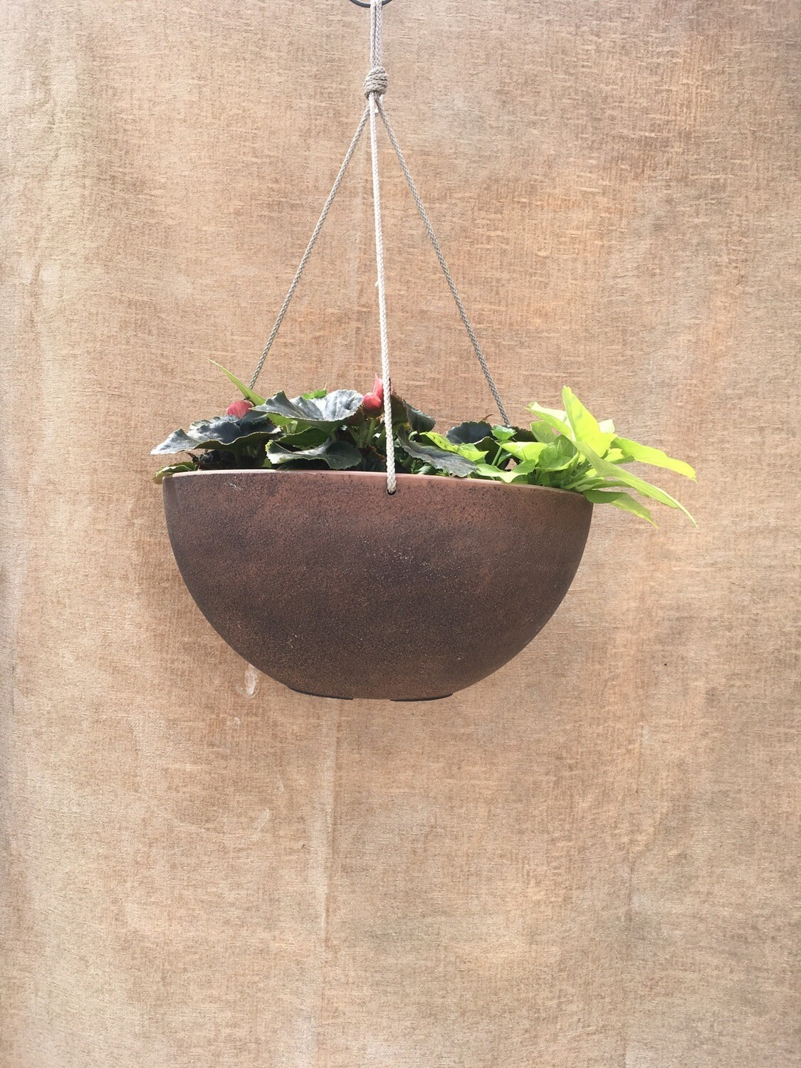 "14"" Faux 'copper' Hanging Basket - SHADE"