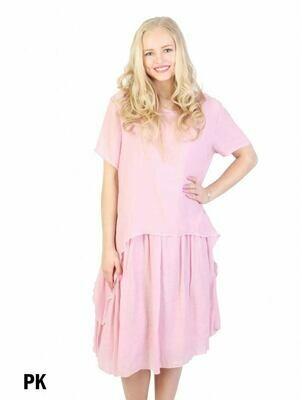 Layered Shift Dress (pink)