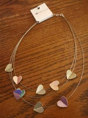 Floating Heart Triple Strand Necklace