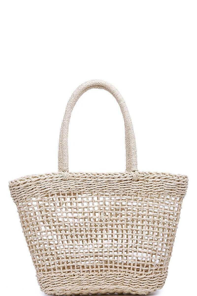 LUXURY SIONA NATURAL WOVEN TOTE BAG