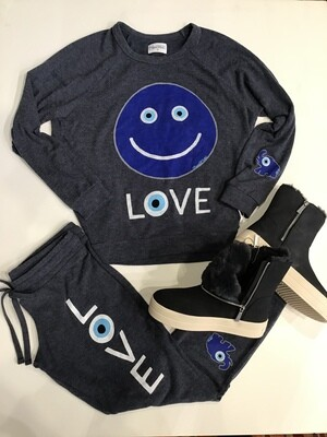 Evil eye happy face love sweatshirt
