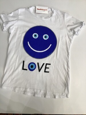 Evil eye happy face s/ tee