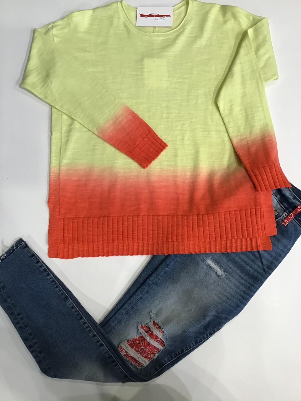 Ombré dip dye cotton sweater