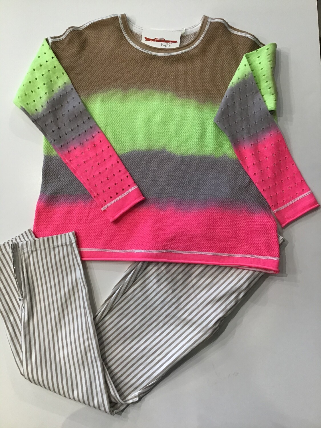 Double dip perforated sleeve sweater
