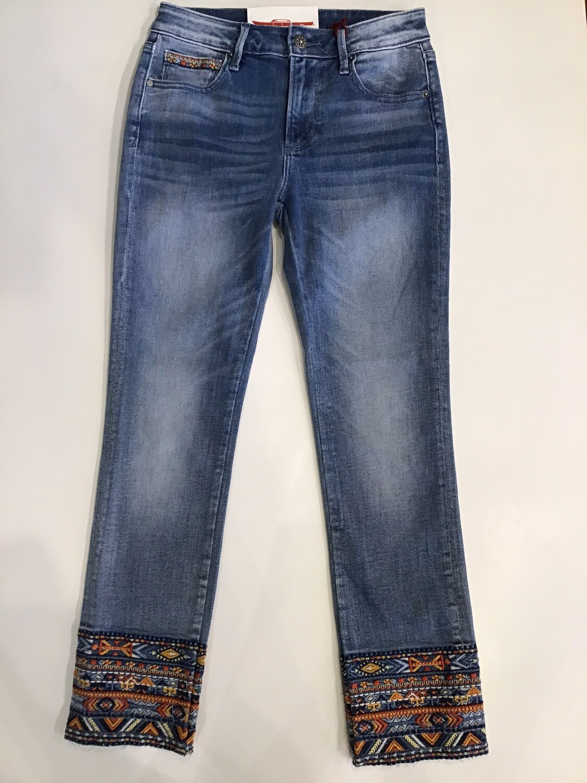 Aztec Embroidered Cuff Jean