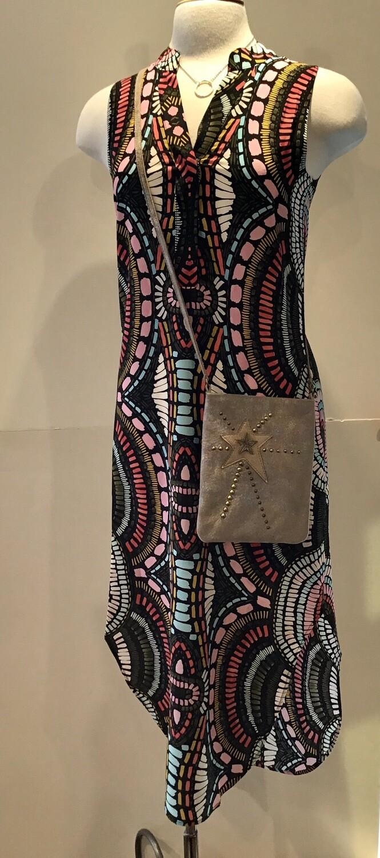 Silk shirt tail print maxi dress