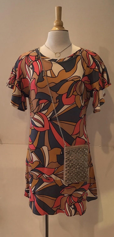 Geo floral print s/s ruffle dress