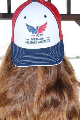 Fitted red, white and blue hat