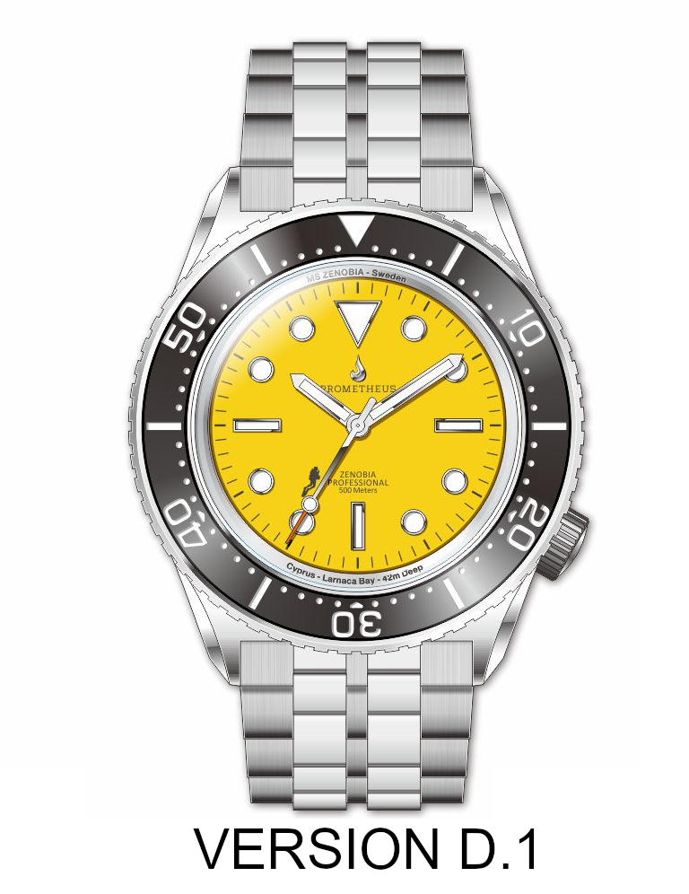 Prometheus Zenobia Yellow Dial Version D1 No Date PZENOBIAD1YELLOW