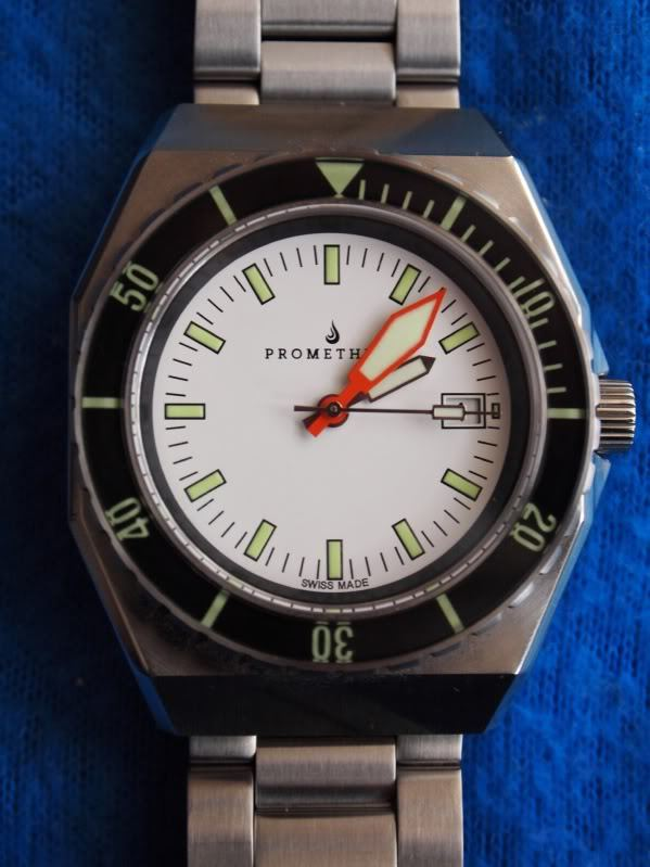 Prometheus Trireme Swiss Made Automatic Diver Watch Sapphire Bezel White Dial Plongeur Hands PMTTWDP