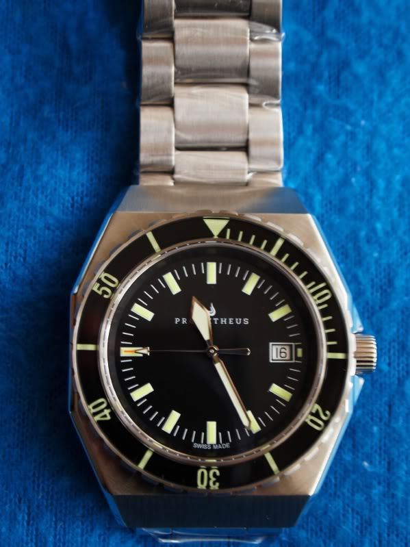 Prometheus Trireme Swiss Made Automatic Diver Watch Sapphire Bezel Black Dial Sword Hands PMTTBDS