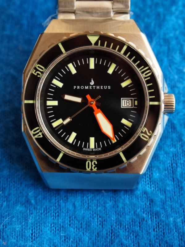 Prometheus Trireme Swiss Made Automatic Diver Watch Sapphire Bezel Black Dial Plongeur Hands PMTTBDP