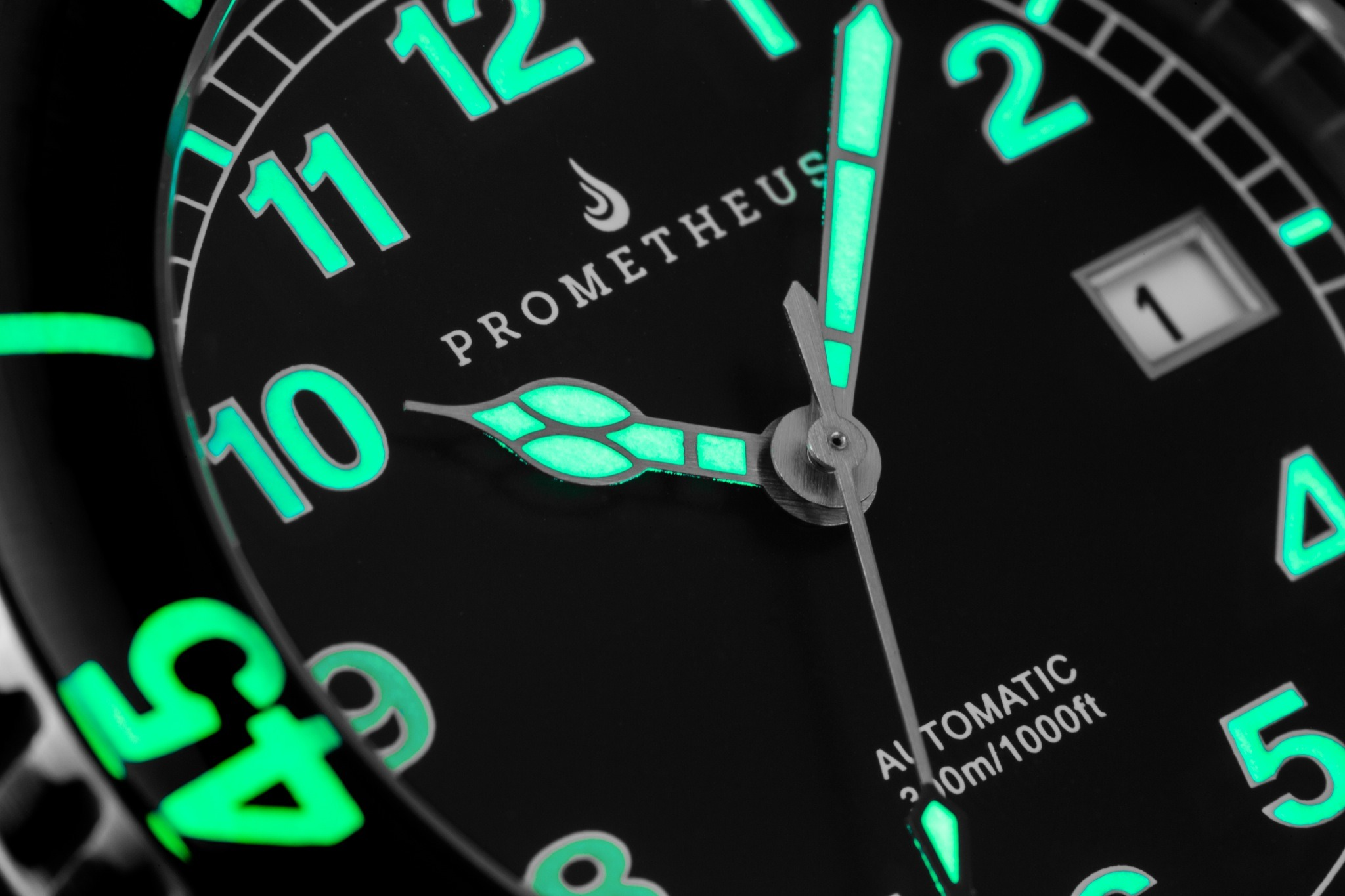 Prometheus Sailfish 300m Automatic Diver Watch Black Dial Sapphire Bezel Lume Shot