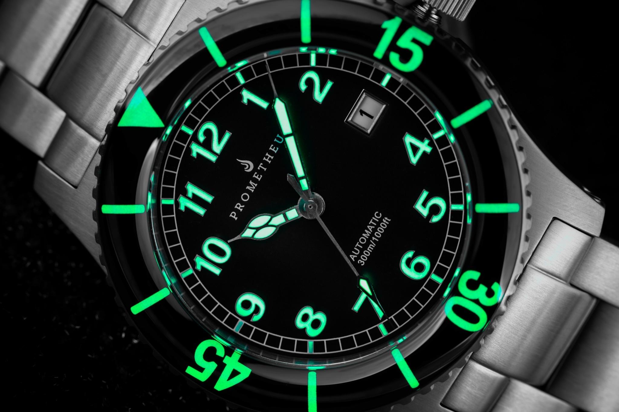 Prometheus Sailfish 300m Automatic Diver Watch Black Dial Sapphire Bezel Lume Shot