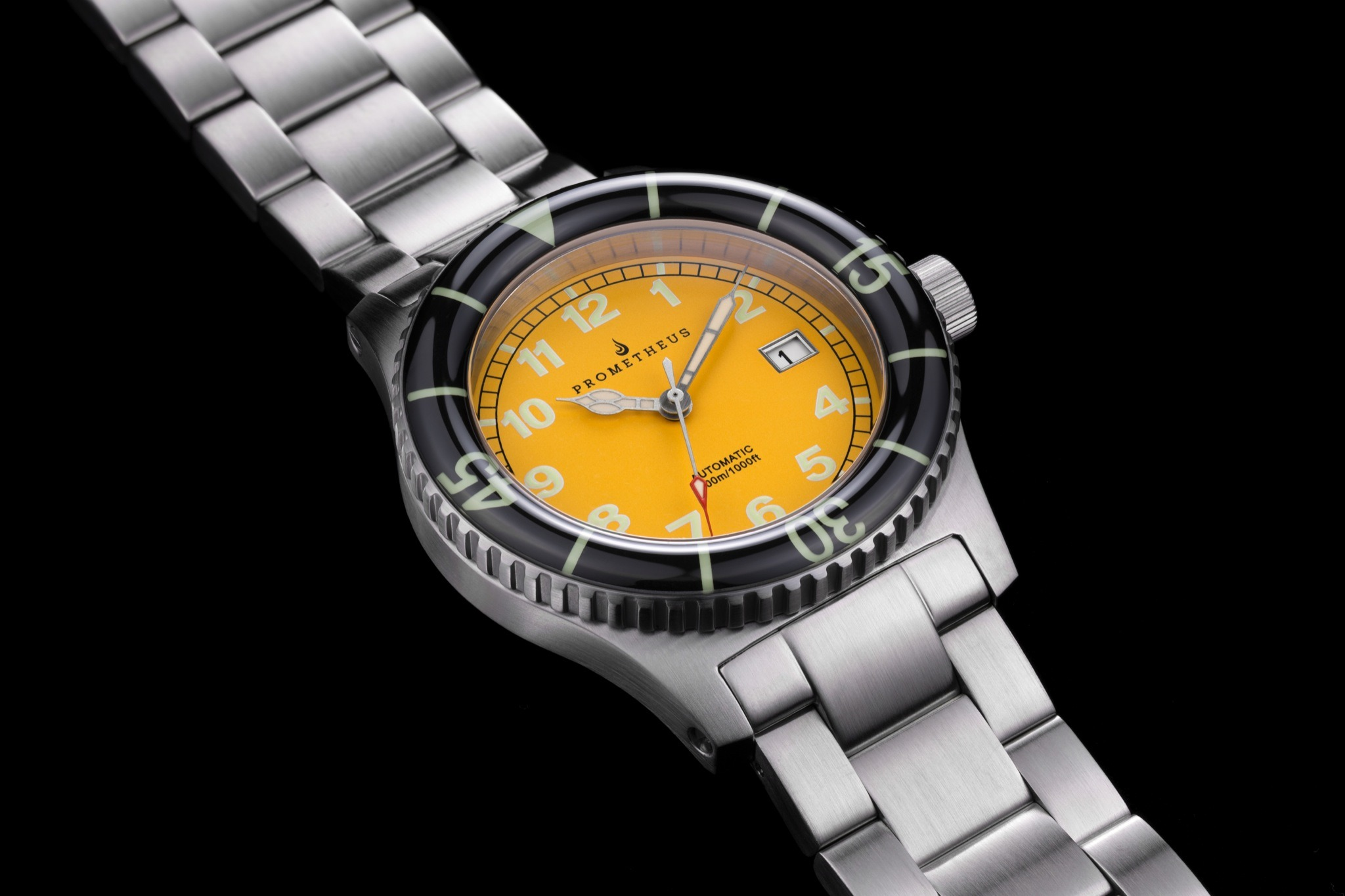 Prometheus Sailfish 300m Automatic Diver Watch Yellow Dial Sapphire Bezel PMTSFYELLOW