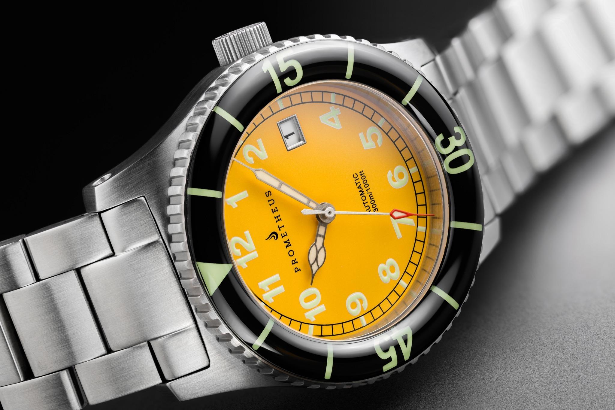 Prometheus Sailfish 300m Automatic Diver Watch Yellow Dial Sapphire Bezel