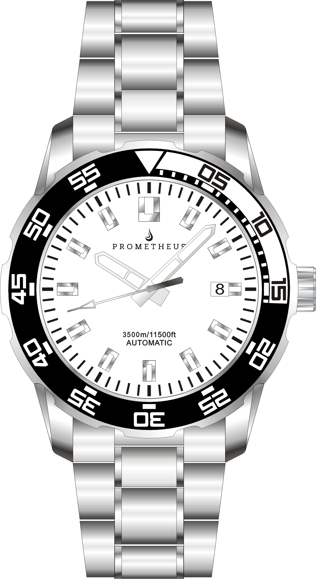 Prometheus Poseidon Stainless Steel White Bezel Lumed White Dial Pencil Hands 3500m Miyota 9015 Automatic Diver Watch PMTPWDPH
