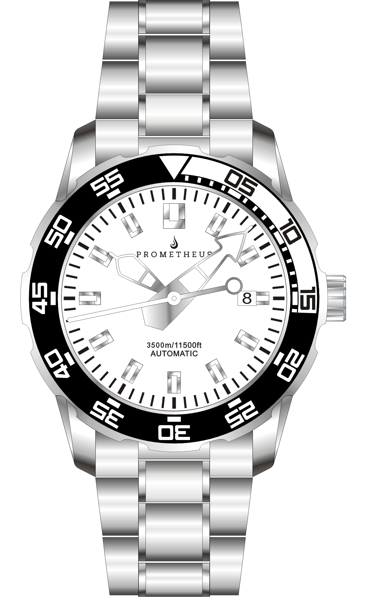 Prometheus Poseidon Stainless Steel White Bezel Lumed White Dial Modern Diver Hands 3500m Miyota 9015 Automatic Diver Watch PMTPWDMODERNDH