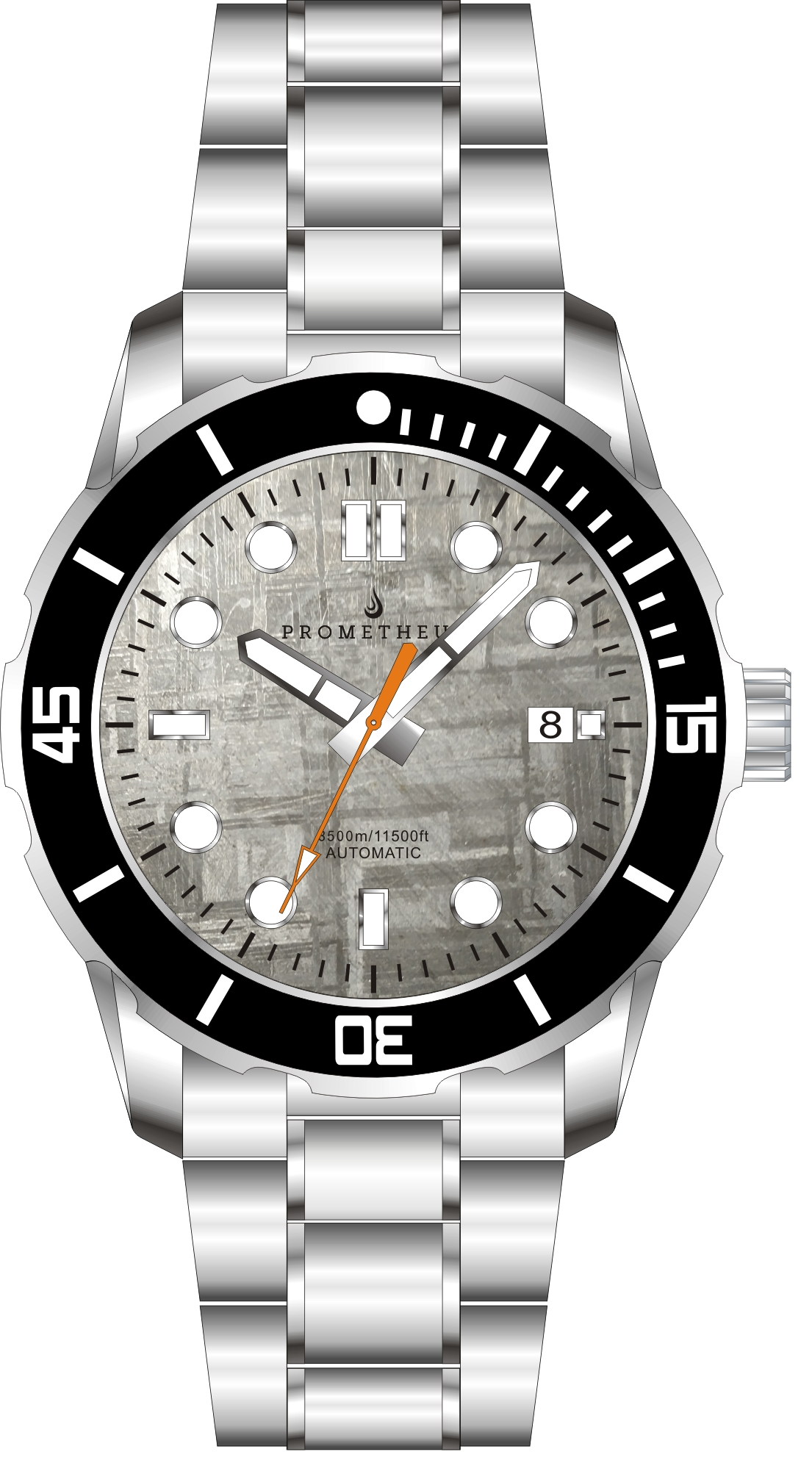 Prometheus Poseidon Meteorite Dial Pencil Hands Orange Seconds Date 3500m Diver Watch Automatic Miyota 9015 PMTPMETEORPHODT