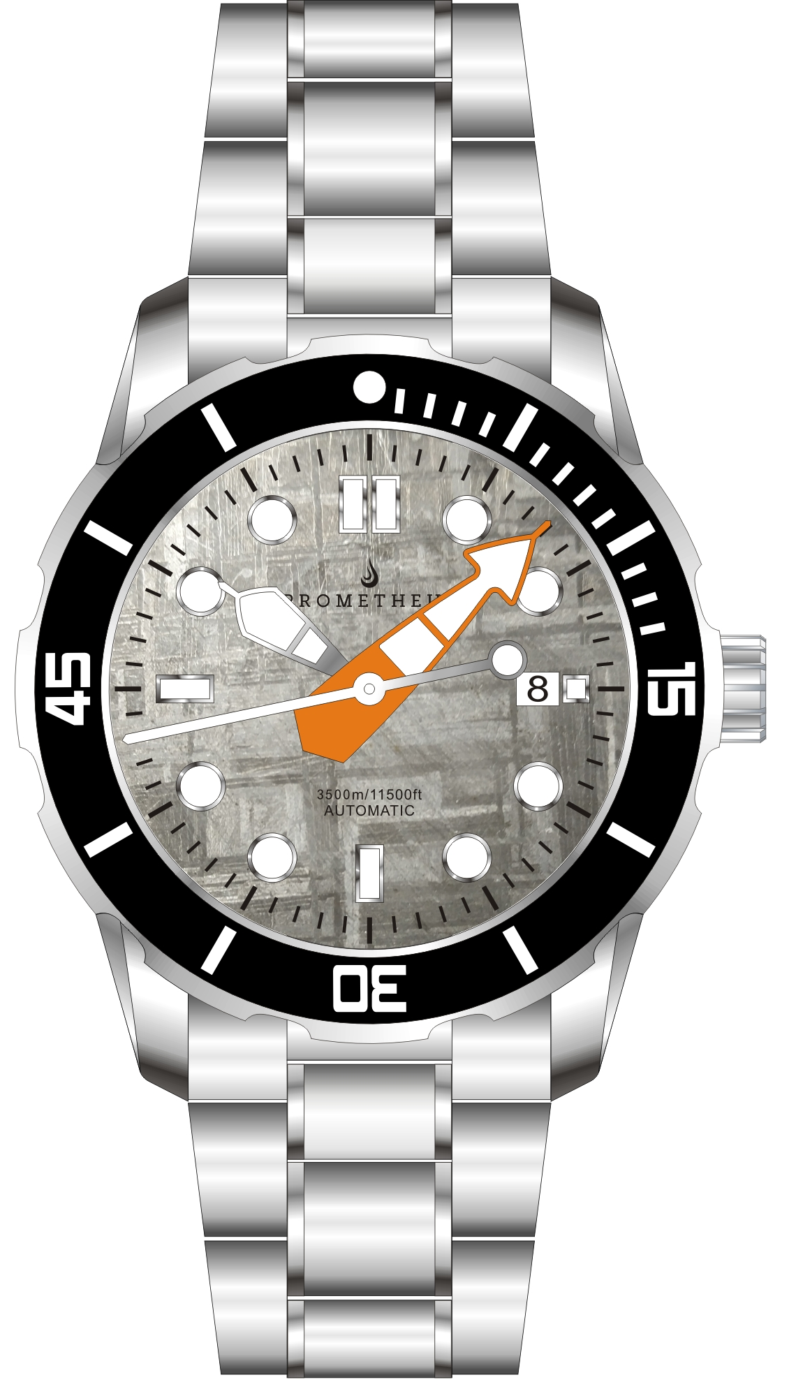 Pre-Order Prometheus Poseidon Meteorite Dial Modern Diver Hands Orange Date 3500m Diver Watch Automatic Miyota 9015