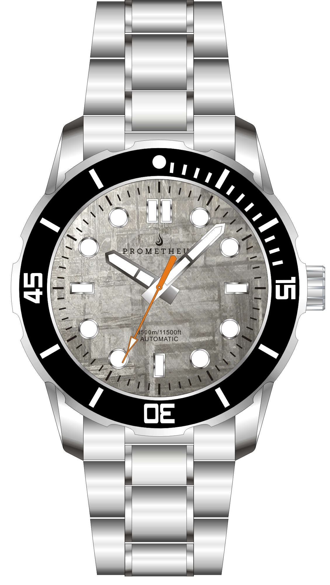 Prometheus Poseidon Meteorite Dial Pencil Hands Orange Seconds No Date 3500m Diver Watch Automatic Miyota 9015 PMTPMETEORPHONDT