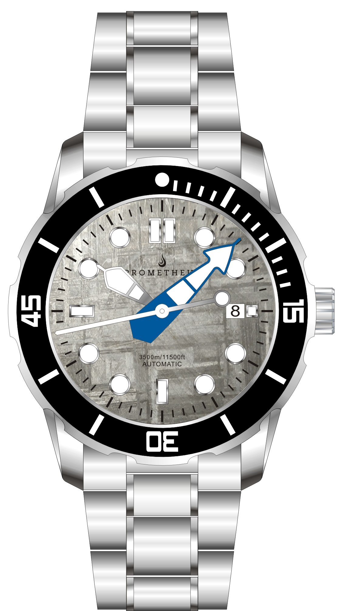 Pre-Order Prometheus Poseidon Meteorite Dial Modern Diver Hands Blue Date 3500m Diver Watch Automatic Miyota 9015