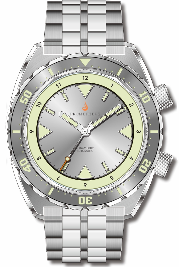 Pre-Order Prometheus Eagle Ray Version 5C.1 ETA 2824 Silver Dial No Date C3X1 Superluminova PMTEAGLERAY5C1NODATE