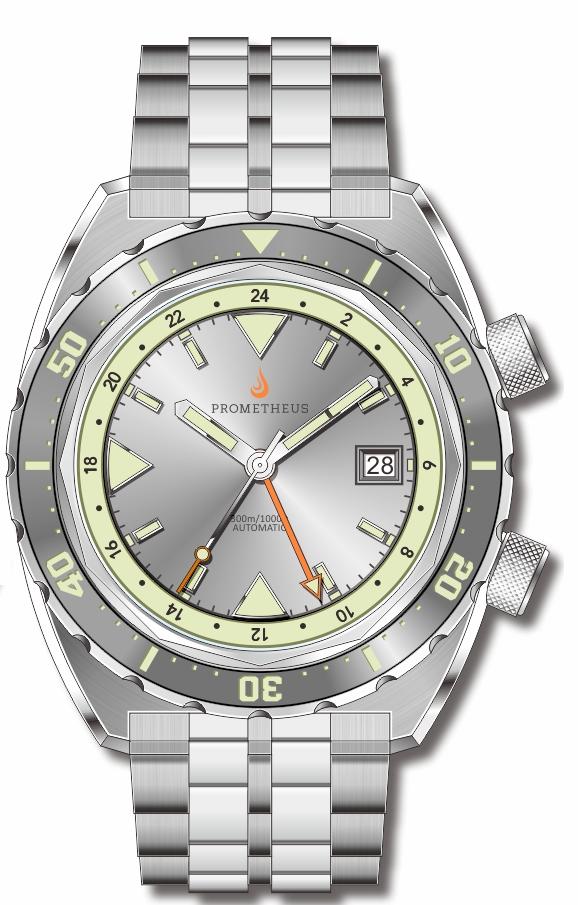 Pre-Order Prometheus Eagle Ray Version 4C ETA 2893-2 GMT Silver Dial Date C3X1 Superluminova