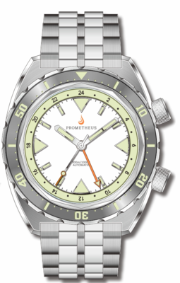 Pre-Order Prometheus Eagle Ray Version 4D1 ETA 2893-2 GMT White Dial No Date C3X1 Superluminova
