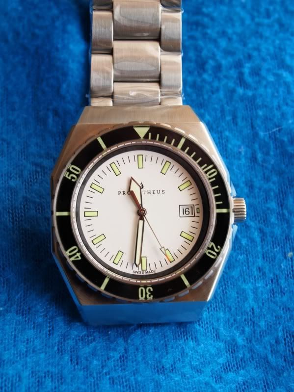Prometheus Trireme Swiss Made Automatic Diver Watch Sapphire Bezel White Dial Sword Hands