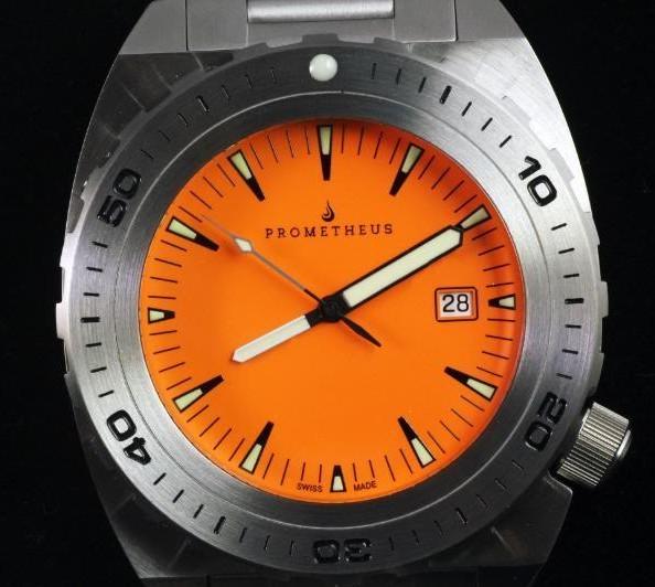 Swiss Made Prometheus Manta Ray Men's Diver Watch Orange Dial 1O