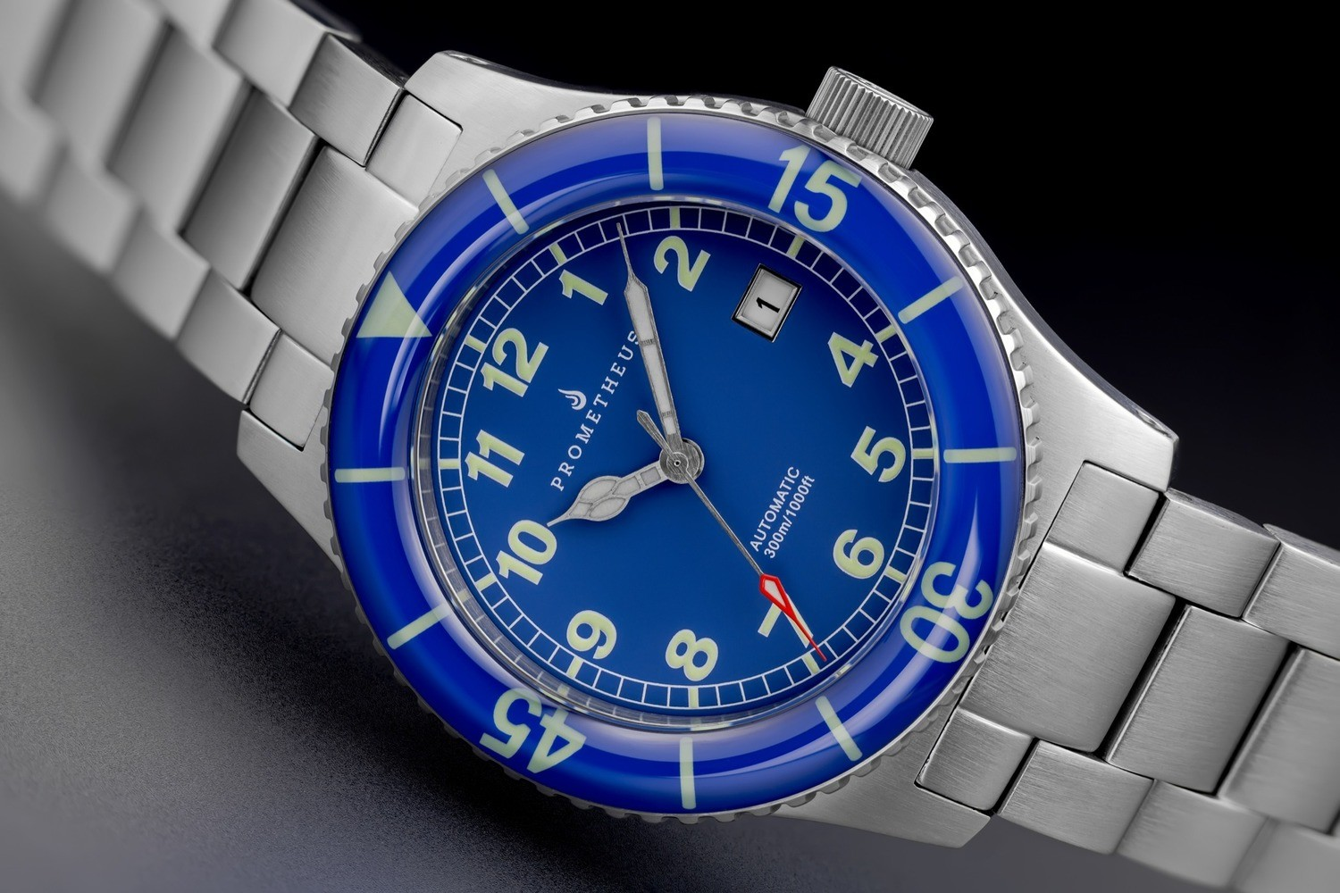Prometheus Sailfish 300m Automatic Diver Watch Blue Dial Sapphire Bezel