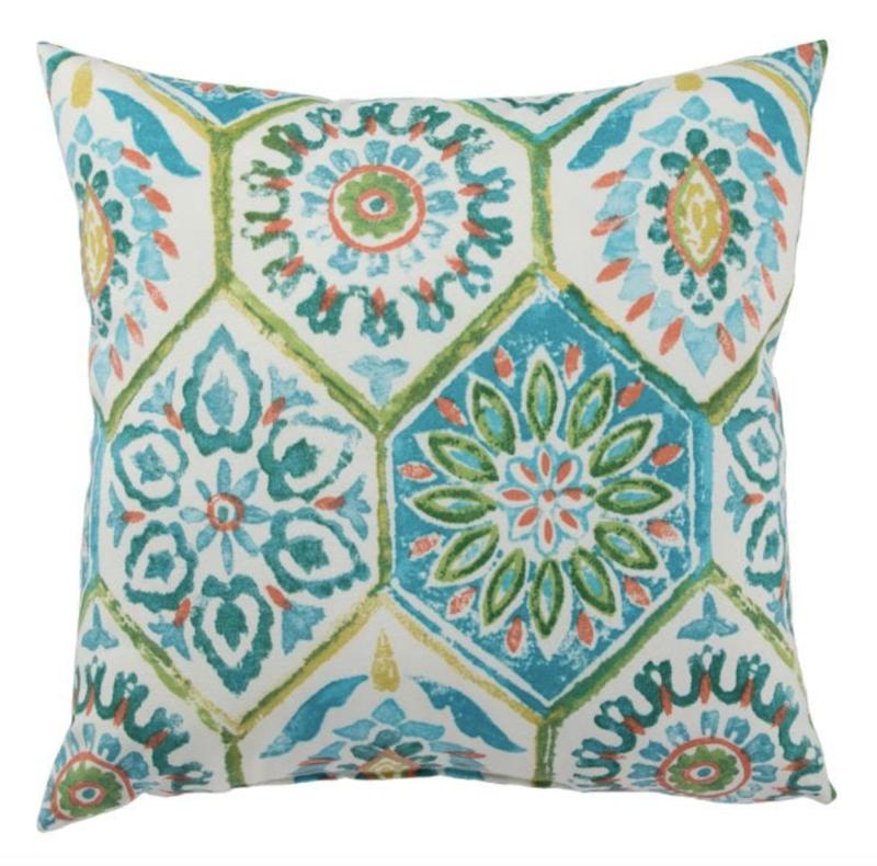 Veranda Aqua Trellis Pillow
