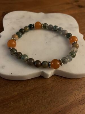 Fancy Jasper and Quartzite bracelet