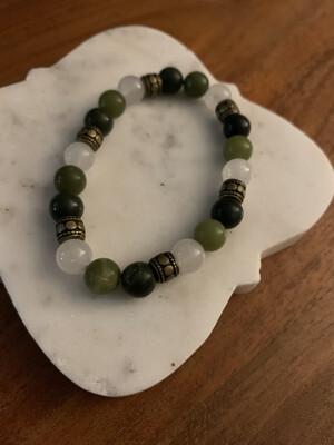 Jade and Quartzite Bracelet