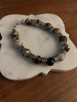 Fire crackle agate bracelet