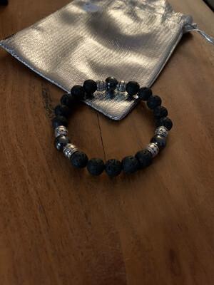 Lava stone with Hematite Bracelet
