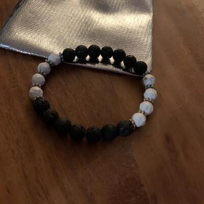 Lava stone with white Howlite Bracelet