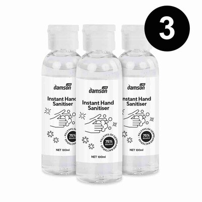 3 x 100ml Hand Sanitiser hand wash gel with aloe extract