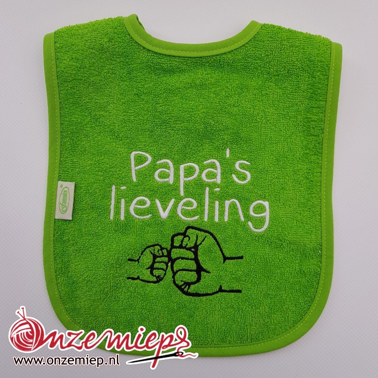 """Groene slab met """"Papa's lieveling"""""""