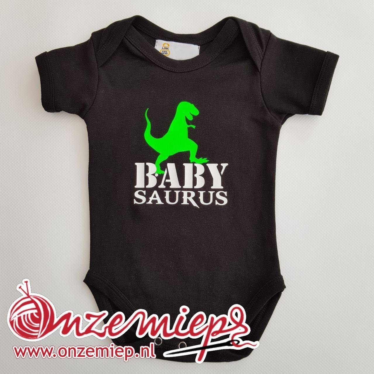 """Zwarte romper met """"Baby Saurus"""""""
