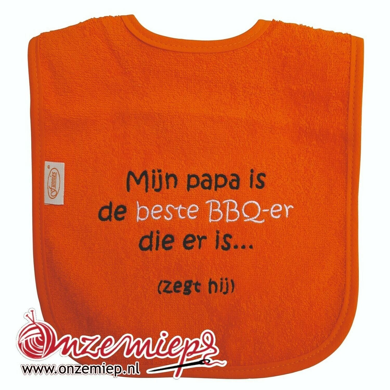 """Oranje slab met """"Mijn papa is de beste BBQ-er die er is... (zegt hij)"""""""