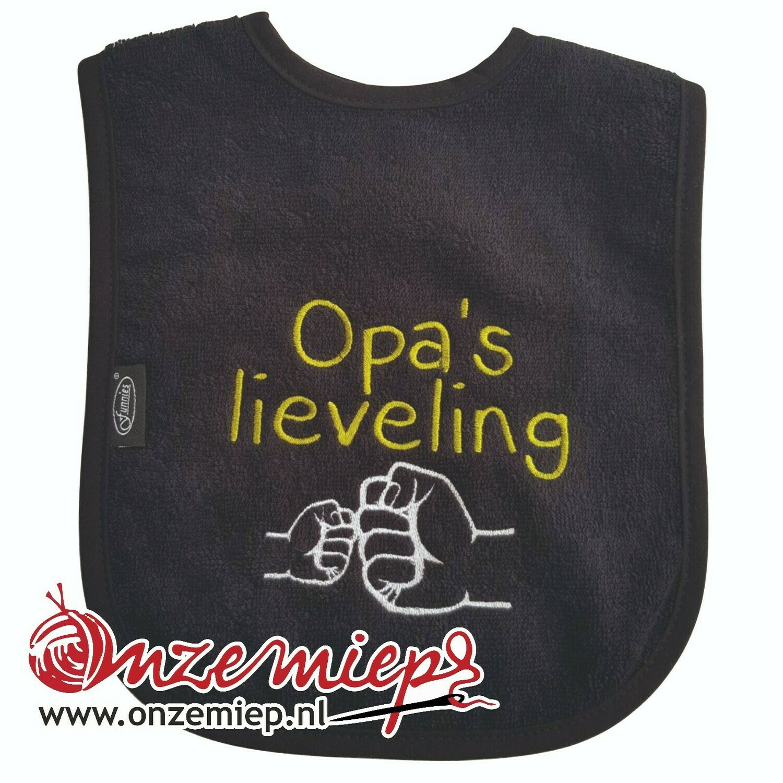 """Zwarte slab met """"Opa's lieveling"""""""