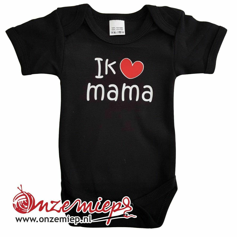 """Zwarte romper met """"Ik hou van mama"""" - maat 68"""