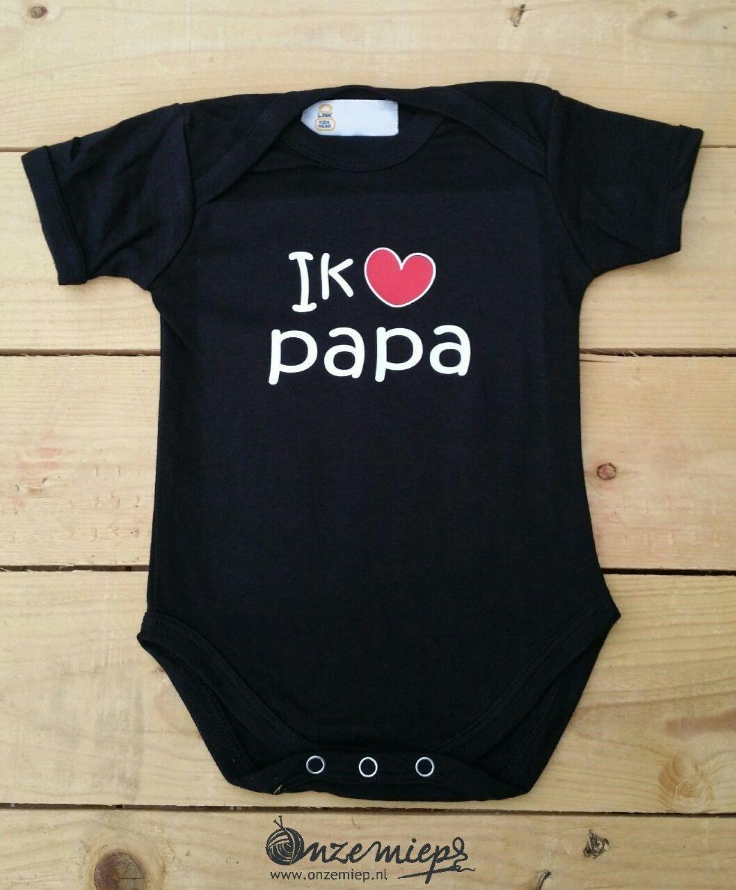 """Zwarte romper met: """"Ik hou van papa"""""""