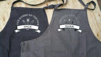 Persoonlijk bbq schort of keukenschort met stoere opdruk en naam